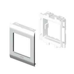 Adaptador vertical 2 modulos Simón 27 color aluminio para canal Unex 65 en pvc